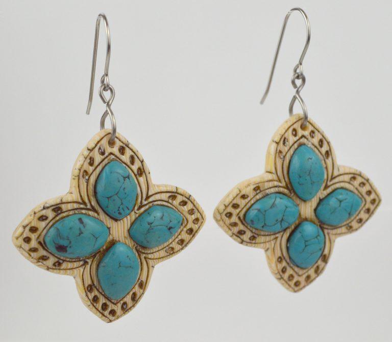 Faux Turquoise & Ivory Earrrings